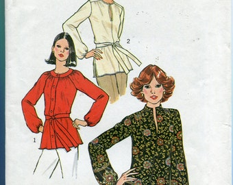 1970s Blouse Pattern Simplicity 7892 Hippie Shirt Peasant Top Boho Vintage Womens Sewing Patterns Size 14 uncut
