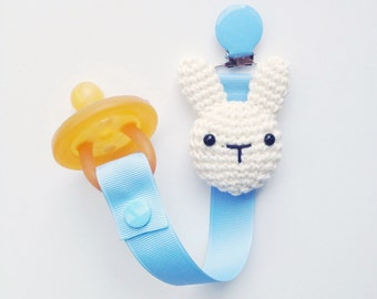 Bunny Pacifier Clip, Bunny Paci Clip, Ribbon Pacifier Clip, Paci Clip, Soothie Clip, Paci Holder, Bunny Baby Gifts, Pacifier Holder