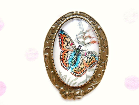 Oval butterfly brooch brown butterfly brooch by - Brown butterfly meaning money ...
