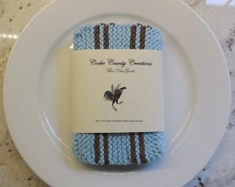 The Perfect Dish Cloth, 100% Cotton, Hand Knit Dish Cloth, Set of Four, Blue Dishcloth