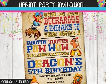 Cowboys and Indians Birthday Party Invitation Old Paper Vintage Look
