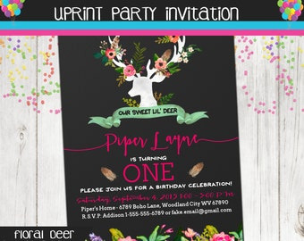 Fairy tale Forest - Floral Deer - Birthday Party Invitation - Printable - Boho