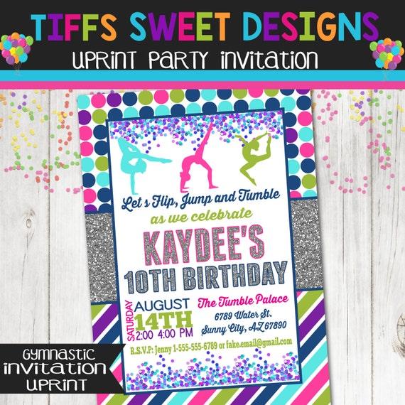 Gymnastics Invitation Gymnast Birthday Party By