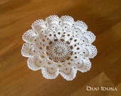 """Bowl """"Daliana"""" / Crocheted, decorative bowl in white and yellow / Bowl for jewelry"""