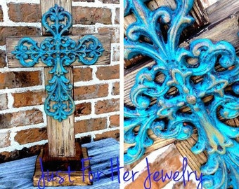 Large Rustic Stand Cross,Rustic Crosses,Shabby Chic Crosses