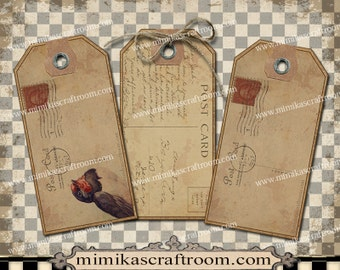 Vintage POSTCARDS Blank Tags editable labels digital gift tags, printable hang tags, collage sheet, instant download