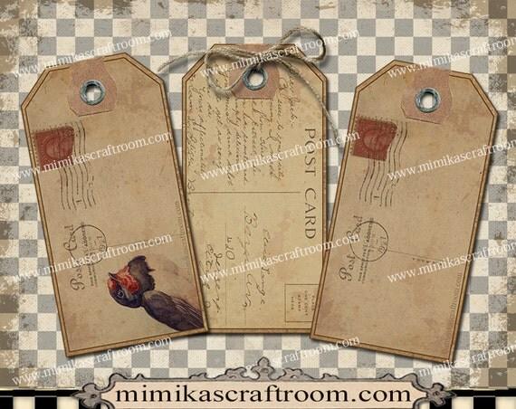Blank Printable Tags: Vintage POSTCARDS Blank Tags Editable Labels Digital Gift