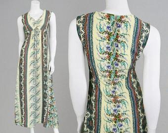 Vintage 70s Boho Maxi Dress Hippy Dress Floral Print Cotton Blend Paisley Print Long Summer Dress Sleeveless Maxi 1970s Dress Bohemian Dress