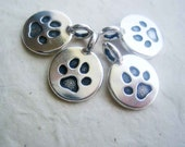 TierraCast Paw Print Charm, silver finish pewter drop 4 pieces 12mm