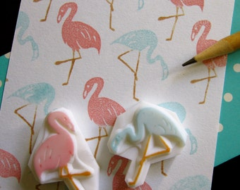 Pink Flamingo rubber stamps - Set of 2