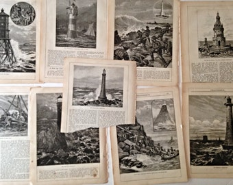 Antique Lighthouse Engravings, Book page scrapbooking, mixed media, journaling, altered art, paper crafts