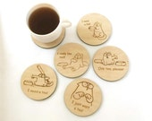 tea coasters,  wooden coasters, simon's cat drink coaster, set of 6