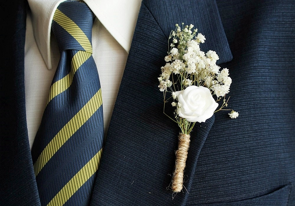 Baby S Breath Rose Boutonniere Rustic Buttonhole By
