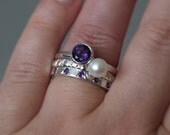 Silver chunky stacking rings - Amethyst ring - Hammered ring - Pearl ring - Amethyst ET ring - Three rings - Handmade in any size