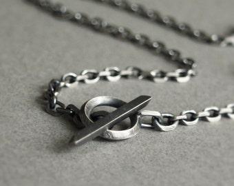 Chaîne argent homme - de chaine argent oxydé - hommes oxydée conception Unique de collier - chaîne forçat - collier en argent - bijoux homme - homme