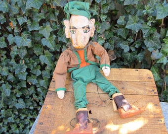 Vintage Hand-made Creepy Elf Marionette Puppet - Folk Art Elf Gnome Marionette Puppet - Elf Puppet