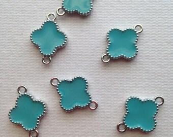 6 Turquoise Blue Enamel Flower/ Clover connector link-double sided enamel