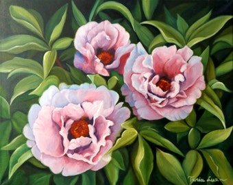 Peonies - Original Oil Painting On Canvas, Size: 50 cm x 40 cm (16'' x 20'')