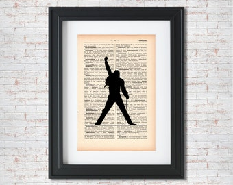 Freddy Mercury Front Silhouette Dictionary art print - Upcycled dictionary art - Book print page art #009