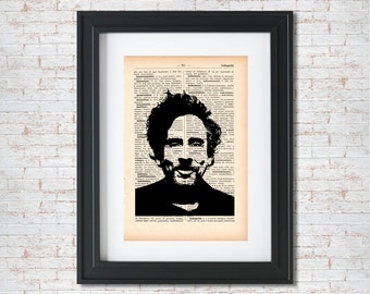 Tim Burton Silhouette Dictionary art print - Upcycled dictionary art - Book print page art #082