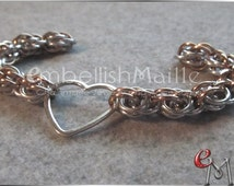 Stunning two tone with silver Sweet Pea  Chainmaille Bracelet ~Nickel Lead Free great for anyone with metal allergies! Pick your own color!