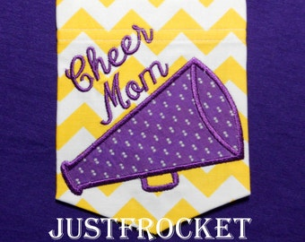 Crew Neck TShirt with Megaphone and Cheer Mom Embroidery Lettering in Short or Long Sleeve Option