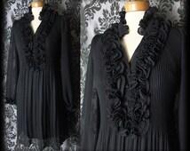 Gothic Black Frilled Bib High Neck VICTORIAN GOVERNESS Tea Dress 12 14 Vintage