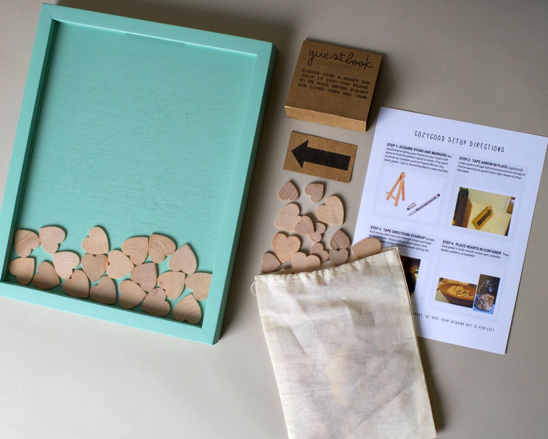 Sale Wedding Guest Book Alternative Wooden Hearts Guestbook