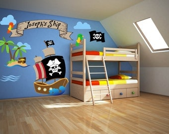 Pirate Room Decor - Pirate Wall Decals - Pirate Theme Decor - Pirate Wall Art - Pirate Theme Room Art