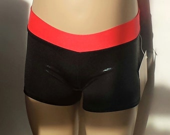 Gymnast Shorts, Girls Size 4, Cherry / Black Shiny Low Waisted Shorts for Gymnastics,  Dance and/or Cheerleading