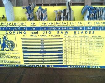 Vintage Display - Parker Mfg. 1950's Coping/Jig Saw Blade Metal Sales Display