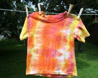 Orange Red and Yellow Tye Dye 4T  Tshirt, Kids Hand Dyed Cotton Top Size 4T