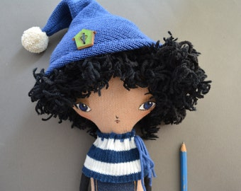 Black hair doll - Textile cloth boy doll - Hand painted face -  Soft doll - Gift -  Hand made doll - fabric doll