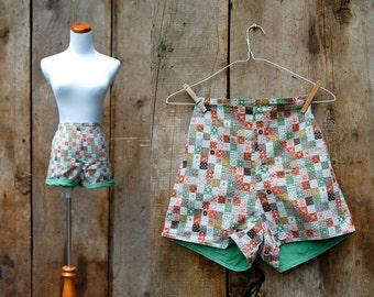 c. 1960s shorts + vintage 60s bohemian patchwork shorts + highwaisted pinup shorts