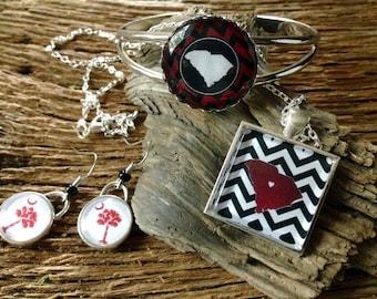 Carolina Gamecocks jewelry set: USC Gamecocks necklace, earrings, and bracelet
