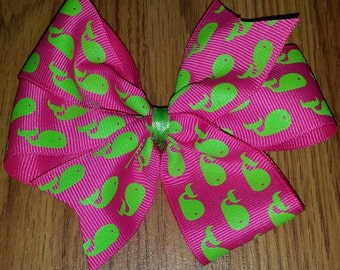 Hot Pink Hair Bow with Lime Green Whales