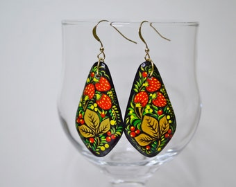 Earrings .Wood .Hand painted .Russian folk style.Khokhloma painting.