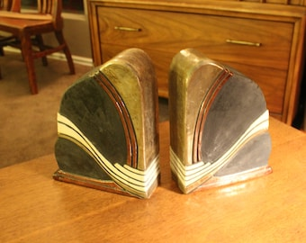 Fantastic gold, copper, and graphite signed large art pottery bookends