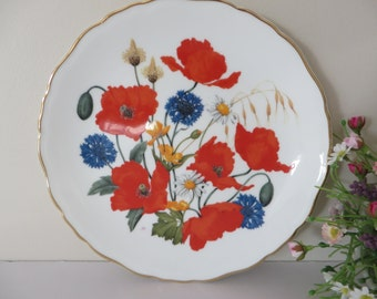 Royal Albert 1980's vintage plate, Cornfield Poppies, Red poppies,Cottage flowers,English wild flowers, Red floral plate