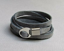 Men's Leather Bracelet, Wrap Bracelet Cuff, Unisex Bracelet, Adjustable to your wrist