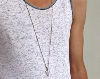 Men's Arrowhead Necklace Men's Spear Necklace Men's Silver Necklace Mens Jewelry