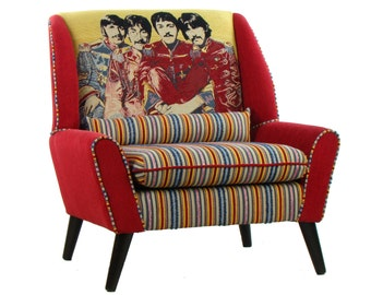 Retro The Beatles Armchair Andrew Martin Fabric