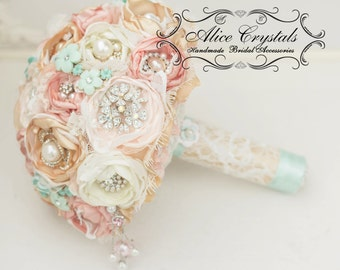 Brooch bouquet. Shabby Chic bouquet. vintage gold, peach, ivory, mint and lace.