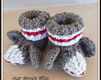 Sock Monkey baby booties, Knit Sock Monkey booties
