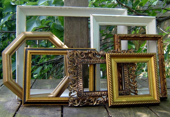 gold picture frame set gallery wall frames white gold frames shabby chic frames home decor. Black Bedroom Furniture Sets. Home Design Ideas