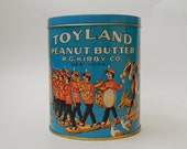 "5 1/4"" Toyland Peanut Butter Tin Can (England) Soldiers Marching Band Circus Kitchen Decor"