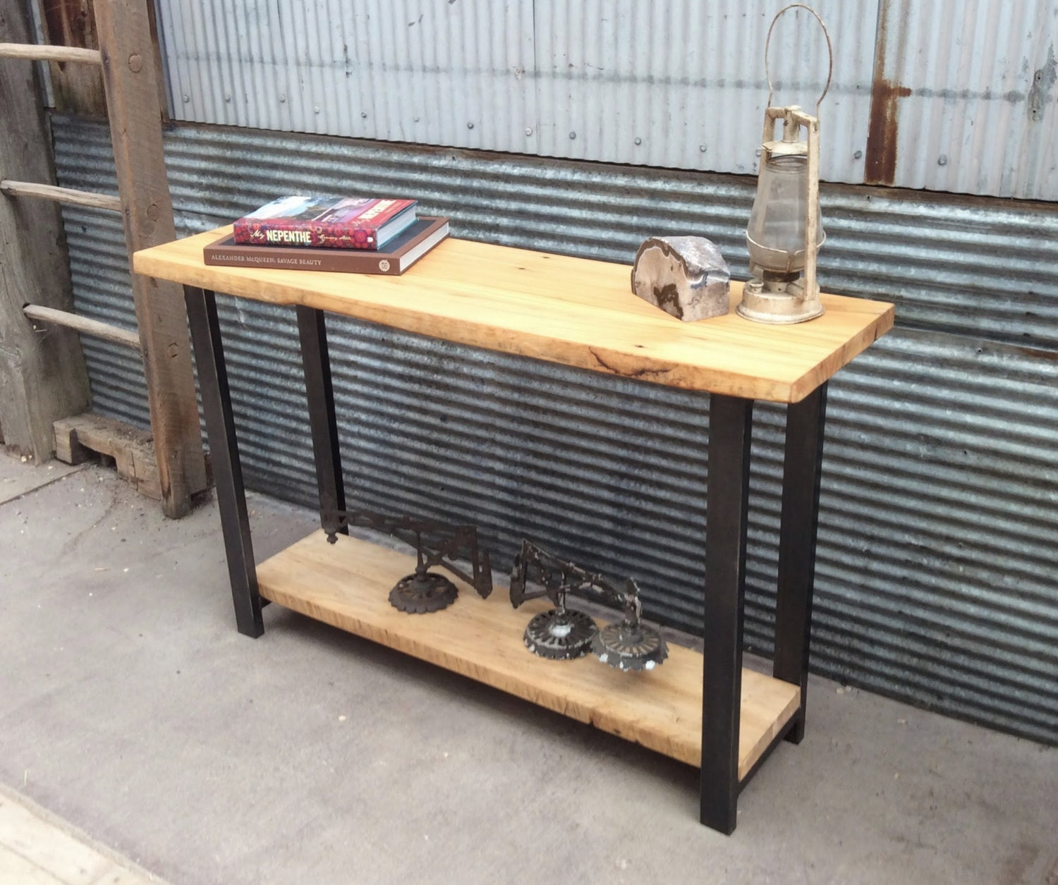 Amazing photo of Reclaimed Barn Wood Console Table Lower Shelf Metal Legs by wwmake with #946B37 color and 1500x1255 pixels