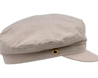 Greek Fisherman / Breton style Summer Cap made of Linen - beige