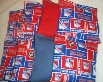 8 ACA Regulation Cornhole Bags - 8 New York Rangers on Red and Blue