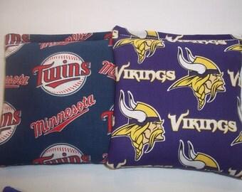 8 ACA Regulation Cornhole Bags - MLB Minnesota Twins & NFL Minnesota Vikings